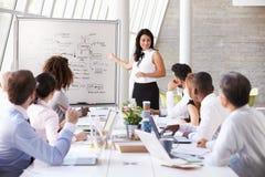 西班牙女实业家主导的会议在会议室表上 库存照片
