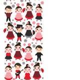 西班牙妇女佛拉明柯舞曲舞蹈家 与桃红色面颊和闪光的Kawaii逗人喜爱的面孔注视 吉普赛女孩,红色黑礼服,圆点织品, 免版税图库摄影