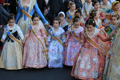 西班牙妇女和女孩在巴伦西亚,西班牙 免版税库存图片