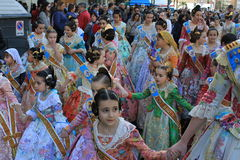 西班牙妇女和女孩在巴伦西亚,西班牙 图库摄影