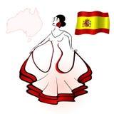 西班牙妇女跳舞佛拉明柯舞曲 标志西班牙 等高西班牙人边界 免版税图库摄影