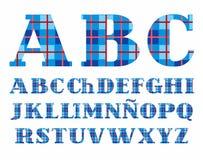 西班牙字母表,字体,格子花呢披肩,蓝色,传染媒介 免版税库存图片