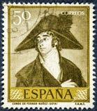 西班牙展示计数打印的邮票Fernan努涅斯绘Goya 免版税库存照片
