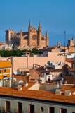 西班牙帕尔马历史的市中心有哥特式大教堂La Seu的看法 达成协议色greyed的区拜雷阿尔斯夹子包括海岛映射路径替补被遮蔽的状态周围的领土对植被 图库摄影