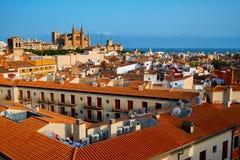 西班牙帕尔马历史的市中心有哥特式大教堂La Seu的看法 达成协议色greyed的区拜雷阿尔斯夹子包括海岛映射路径替补被遮蔽的状态周围的领土对植被 免版税库存图片
