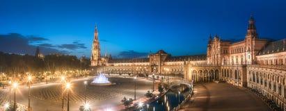 西班牙广场,塞维利亚看法日落的 库存图片