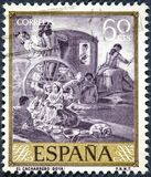 西班牙打印的邮票显示Goya绘的陶瓷工 免版税库存图片