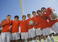 年轻西班牙拉丁足球队 库存照片