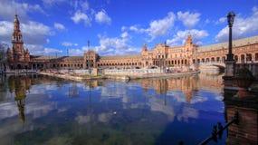 西班牙摆正Plaza de西班牙,塞维利亚,西班牙 免版税图库摄影