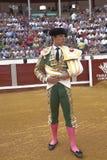 西班牙斗牛士朱利安卢佩茨在paseillo或最初的游行,波索布兰科,科多巴省,西班牙的El Juli 免版税库存照片
