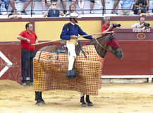 西班牙斗牛 有一支矛的骑马斗牛士在马 被触怒的公牛侵袭斗牛士 西班牙2017 07 25 2017年 Vinaros Monume 库存照片