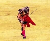 西班牙斗牛 被触怒的公牛侵袭斗牛士 西班牙2017 07 25 2017年 Vinaros巨大的Corrida de toros 库存图片