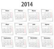 西班牙日历在2014年与阴影。首先星期一 免版税库存图片