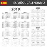 西班牙日历在2019年,2020年和2021年 调度程序、议程或者日志模板 在星期一,星期起始时间 库存例证
