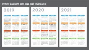 西班牙日历2019-2020-2021传染媒介模板 向量例证