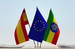 西班牙欧盟和埃塞俄比亚的旗子 皇族释放例证