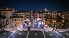 西班牙正方形在罗马在夜之前 免版税库存照片