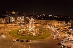 西班牙正方形, Barcellona夜视图  库存图片