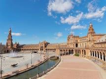 西班牙正方形(Plaza de西班牙)在塞维利亚,西班牙 免版税图库摄影