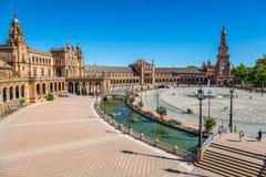 西班牙正方形(Plaza de西班牙)在塞维利亚,西班牙 免版税库存照片