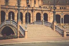 西班牙正方形(Plaza de西班牙)在塞维利亚,西班牙 库存照片