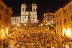 西班牙步骤在晚上 免版税库存照片