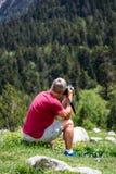 西班牙比利牛斯山的美丽的Aiguestortes i埃斯塔尼de桑特毛里奇国立公园在加泰罗尼亚 免版税库存照片