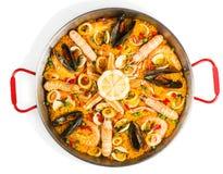 西班牙海鲜肉菜饭,看法从上面 免版税库存图片
