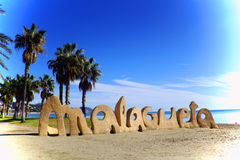 西班牙海滩la malagueta看法在马拉加 图库摄影