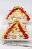 西班牙烹调。俄国沙拉。Ensaladilla rusa。 免版税库存照片