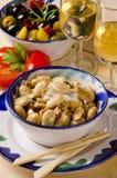 西班牙烹调。在盐的敬酒的杏仁 库存照片