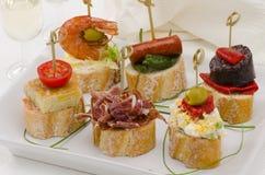 西班牙烹调。塔帕纤维布。montaditos盘子。 免版税库存照片