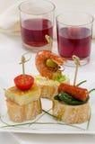 西班牙烹调。塔帕纤维布。montaditos盘子。 库存照片
