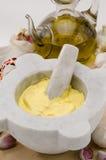 大蒜蛋黄酱调味汁。 Alioli。 库存图片