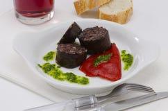 西班牙烹调。Morcilla de布尔戈斯。血肠。 免版税库存照片