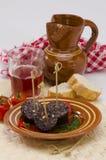 西班牙烹调。Morcilla de布尔戈斯。血肠。 库存照片