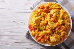 西班牙烹调:鸡肉焖饭关闭在碗 水平 库存图片