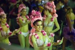 西班牙狂欢节在夜 锡切斯,卡塔龙尼亚 图库摄影