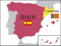 西班牙的地图和独立卡塔龙尼亚 免版税库存图片