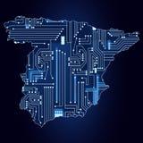 西班牙的地图有电子线路的 向量例证