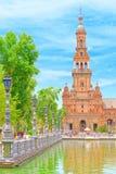 西班牙的正方形是一个正方形在玛丽亚路易莎公园,在Sevi 免版税库存图片