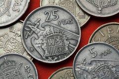 西班牙的硬币 在佛朗哥下的西班牙状态象征 免版税库存图片