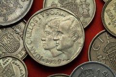 西班牙的硬币 女王索非亚国王胡安・卡洛斯一世和 免版税库存照片