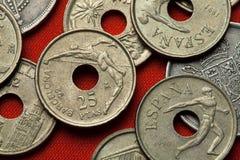 西班牙的硬币 跳高运动员和铁饼运动员 库存图片