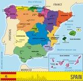 西班牙的详细的传染媒介地图 免版税库存照片