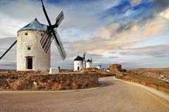 西班牙的风车 免版税库存图片
