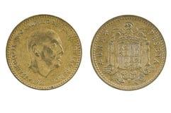 西班牙硬币一比塞塔1966年 库存图片