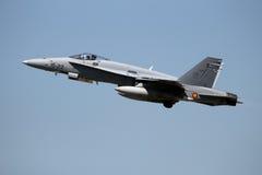 西班牙空军队F/A-18大黄蜂喷气式歼击机飞机 免版税图库摄影