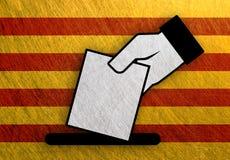 西班牙表决,卡塔龙尼亚公民投票旗子金属葡萄酒 库存图片