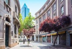 西班牙语人聚居的区域巴黎隆德雷斯在圣地亚哥,智利 免版税库存图片